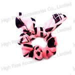 Black Pattern Pink Scrunchie