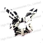 White And Black Wired Tail Scrunchie
