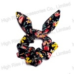 Rustic Floral Wired Bow Scrunchie
