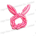 Pink And White Stripes Wired Bow Scrunchie