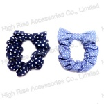 Polka Dotted Bow Blue Scrunchie