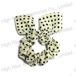 Black Dots White Ear Bow Scrunchie