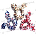 Ethnic Flowers Pattern Wired Bow Scrunchie