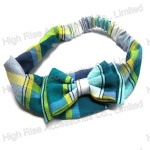 Blue British Grid Bow Elastic Headband