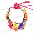 Colorful Floral Crown Garland With Ribbon Tail