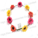 Flower Garland Elastic Headband With Comb