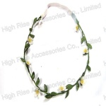 Small White Flower Elastic Headband Garland With Leaves