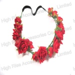 Red Rose Flowers Elastic Headband Garland